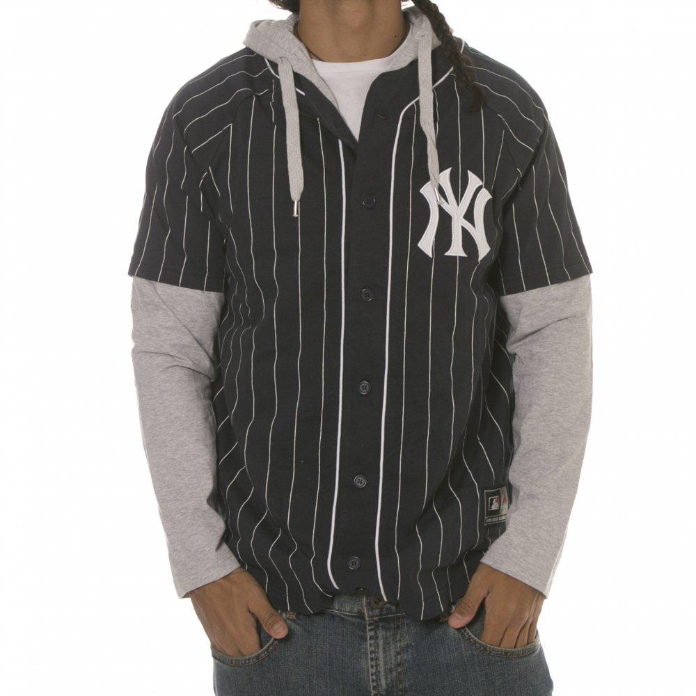 complet dans les spécifications New York prix modéré Chemise MLB Majestic: New York Yankees Hood NV