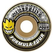 Roues Spitfire: F4 99D Conical Yellow Print (52 mm)